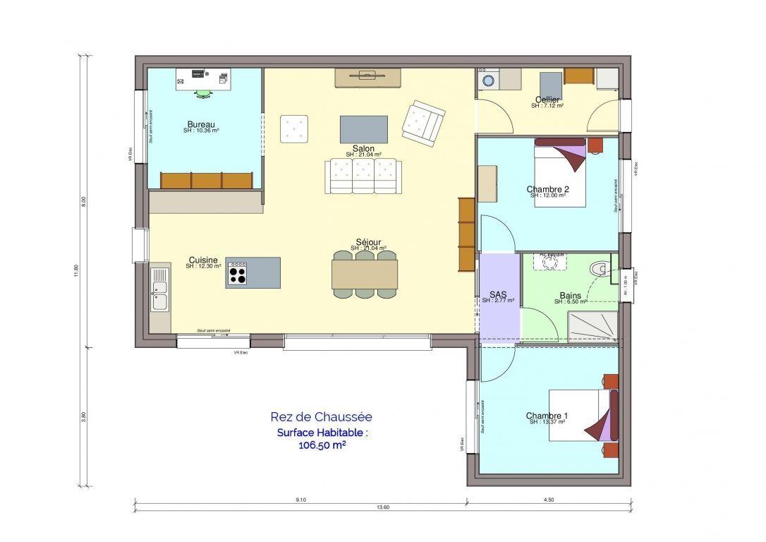 Plan rez-de-chaussée maison arnoult meublé