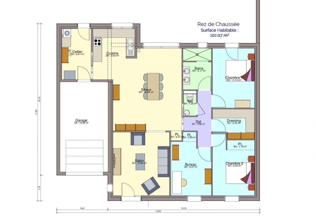 Plan maison modèle Beneteau rez-de-chaussée