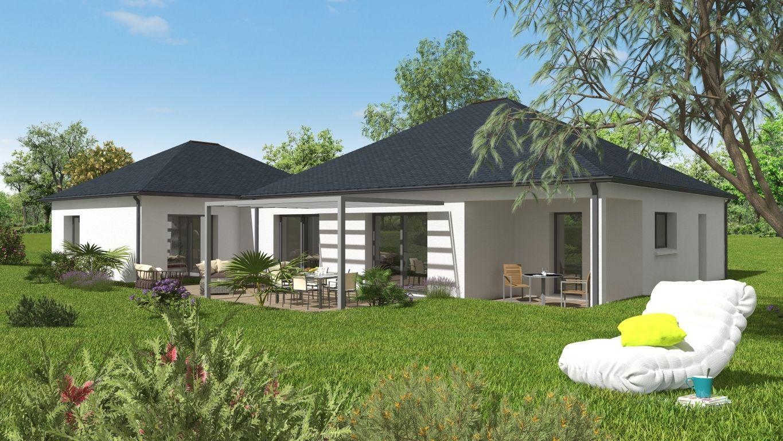 Arrière maison neuve plan 3D avec terrasse