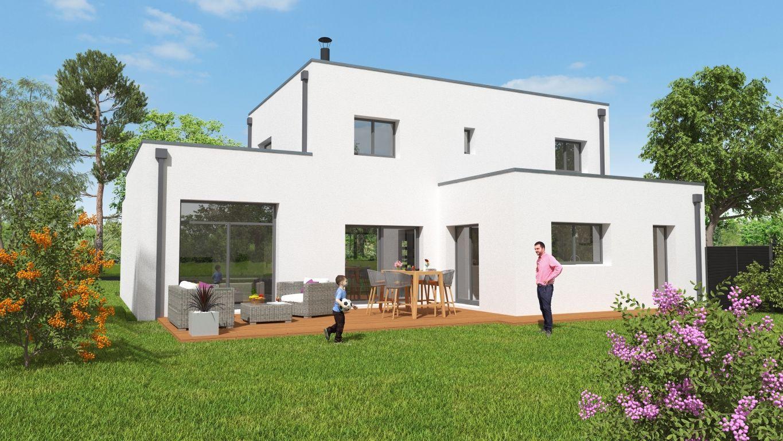 Façade arrière d'une maison neuve avec terrasse et jardin