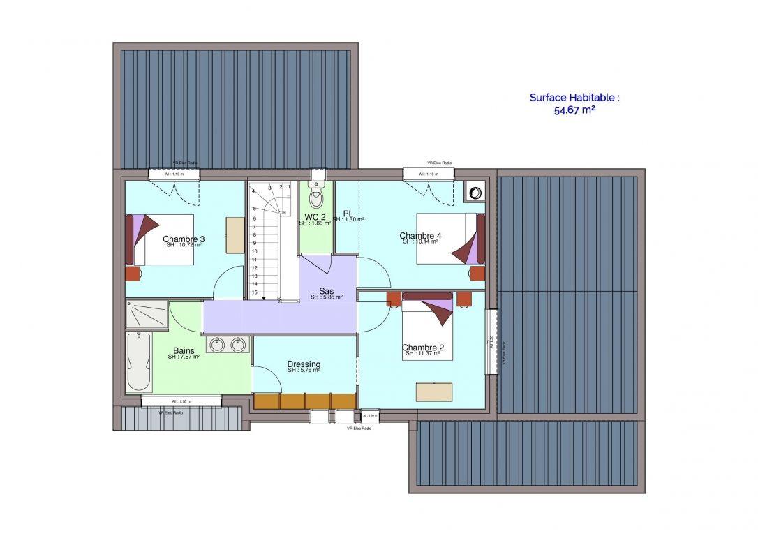 Plan maison étage Carolini
