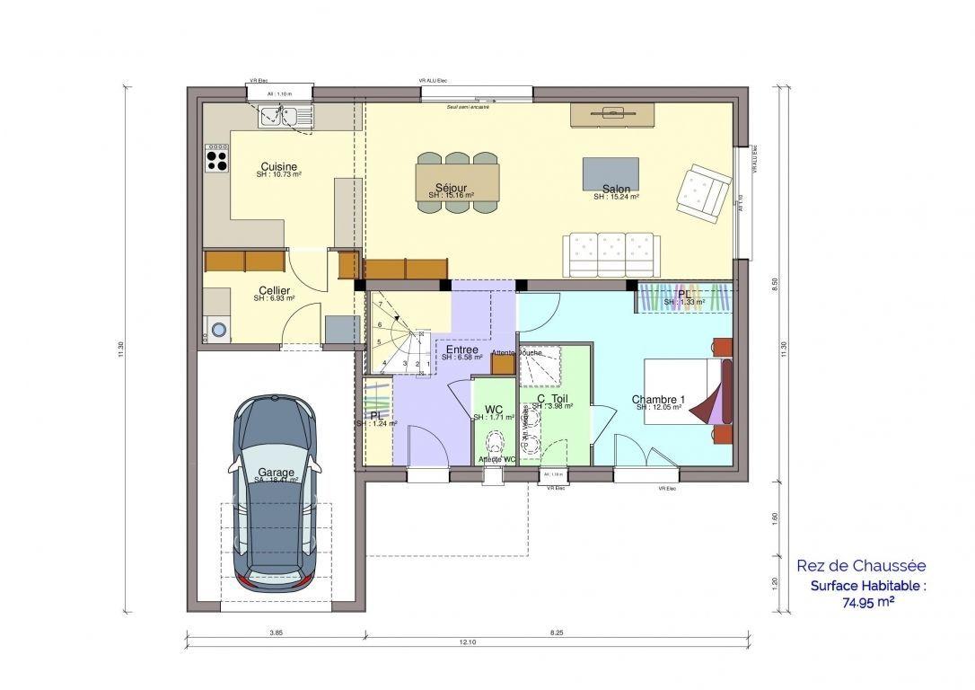 Plan maison Chartrain rez-de-chaussée