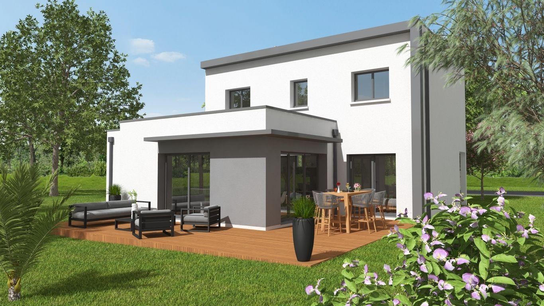 Maison neuve avec terrasse en bois et salon de jardin