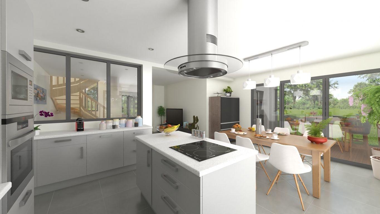 Plan 3D cuisine d'une maison neuve personnalisée