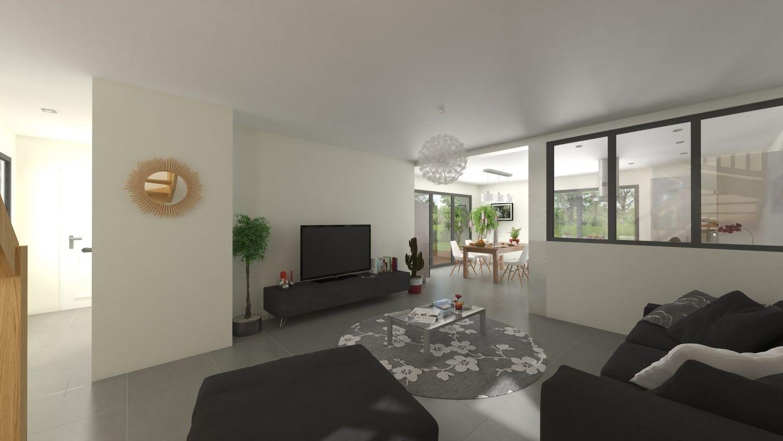 Plan 3D salon d'une maison neuve personnalisée