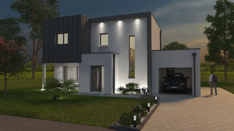 Façade avant d'une maison moderne et sur mesure éclairée la nuit