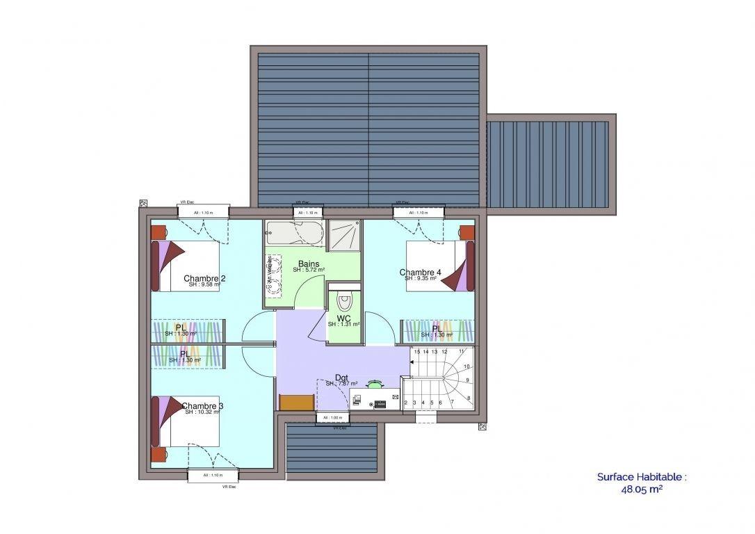 Plan maison Demirel étage meublé