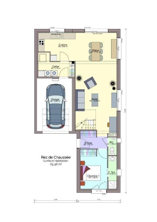 Plan maison Drouault rez-de-chaussée