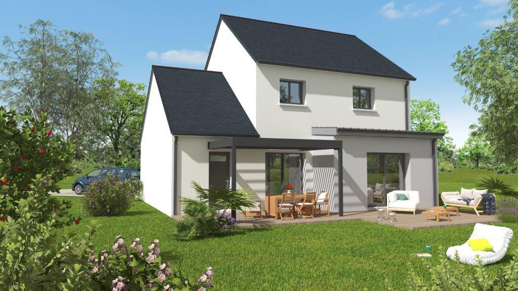 Façade d'une maison avec terrasse neuve - plan 3D