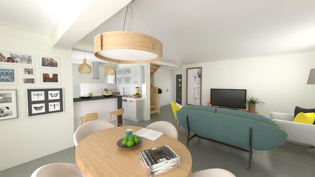Plan 3D salle à manger d'une maison neuve moderne