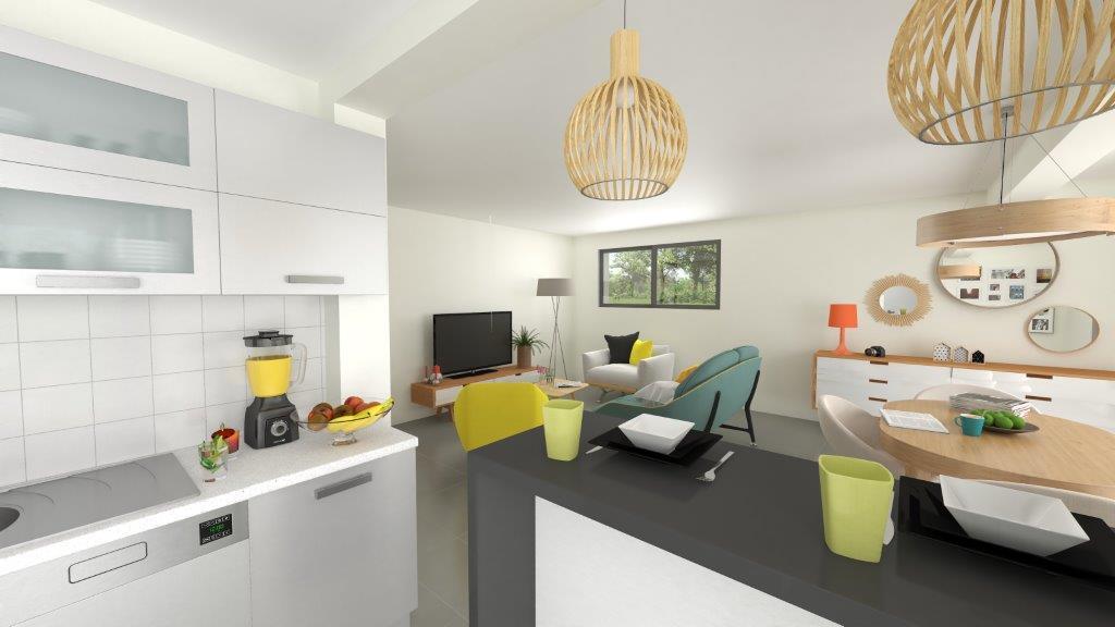 Plan 3D cuisine d'une maison neuve moderne