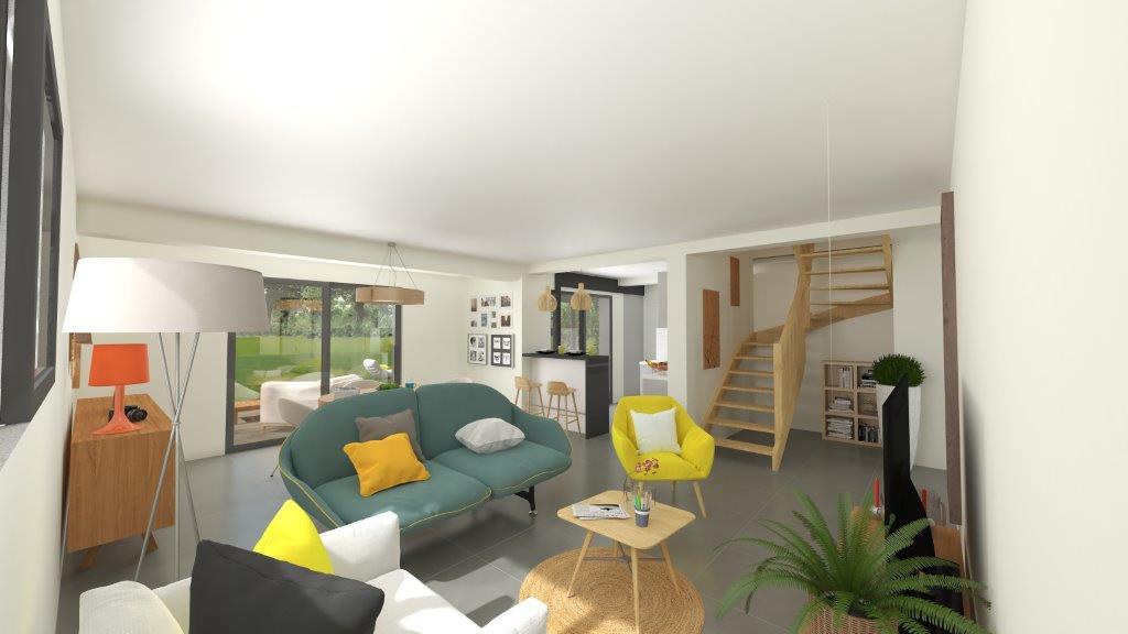 Plan 3D salon d'une maison neuve moderne