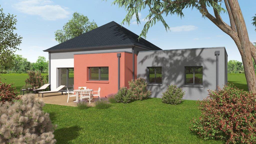 Façade arrière d'une maison neuve avec terrasse