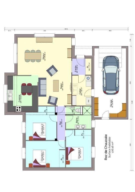 Plan rez-de-chaussée maison Foulonneau