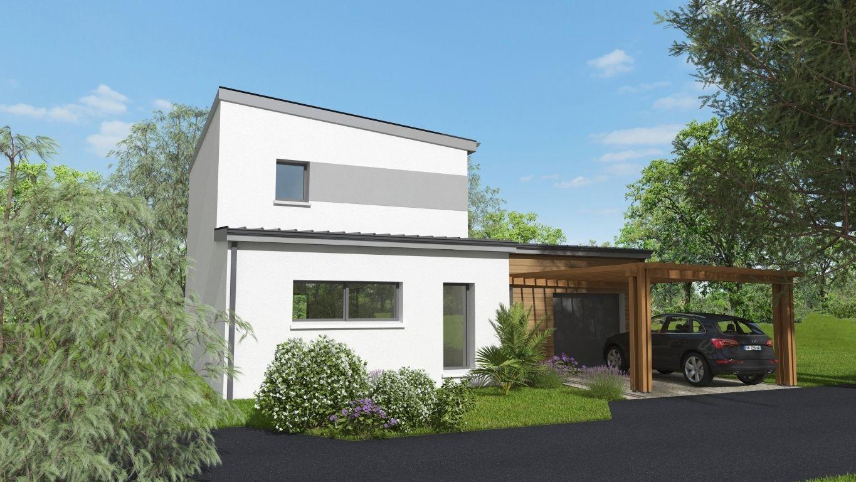 Maison neuve avec préau en bois 2