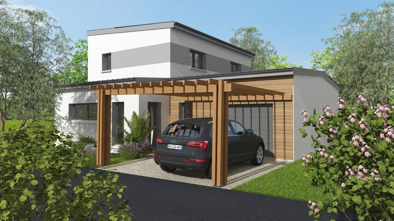Maison neuve avec préau en bois 1