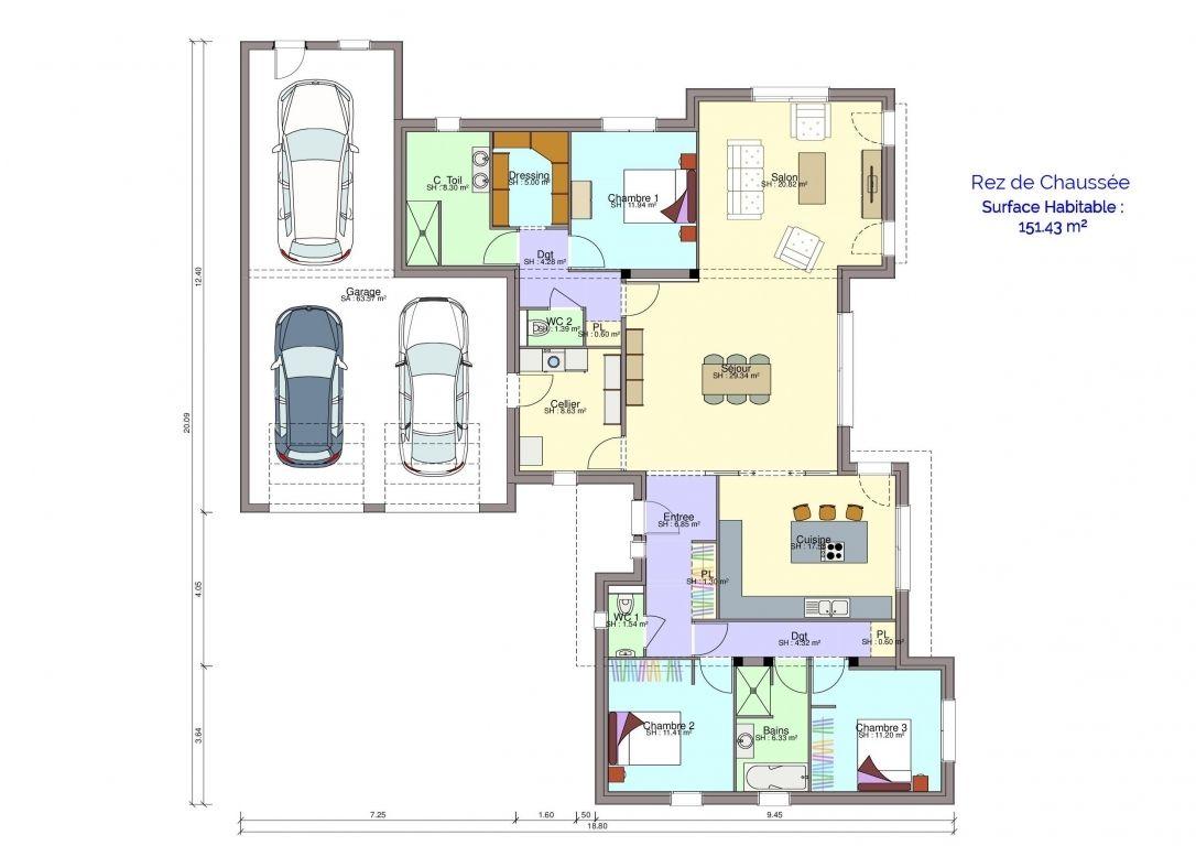 Plan maison rez-de-chaussée Michel