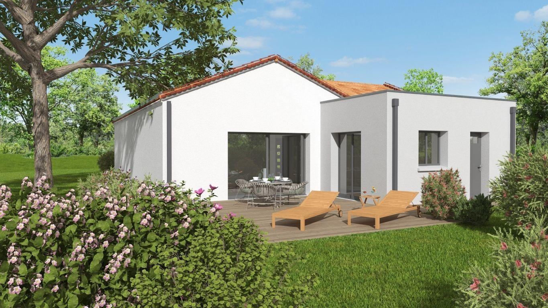 Façade arrière d'une maison neuve avec terrasse bois et baie vitrée
