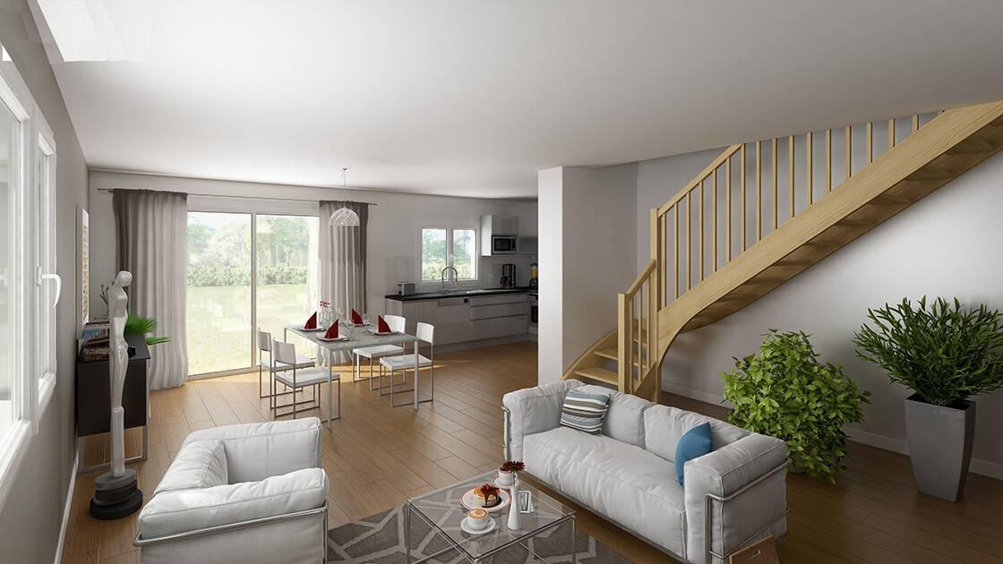 Plan 3D de l'intérieur d'une maison individuelle proposée par Arc en Ciel
